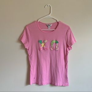 Chi Omega Lilly Pulitzer Letter Tee Shirt